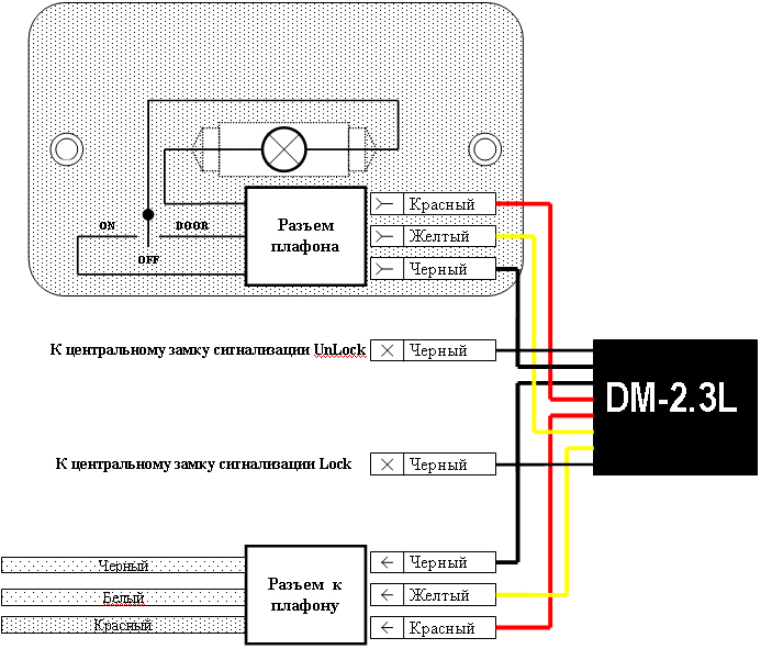 Схема подключения диммера в ланосоподобных автомобилях (все три провода в одном разъёме) .