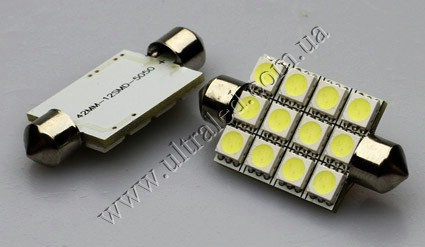 Светодиодная лампа T10x42 12 SMD (white)