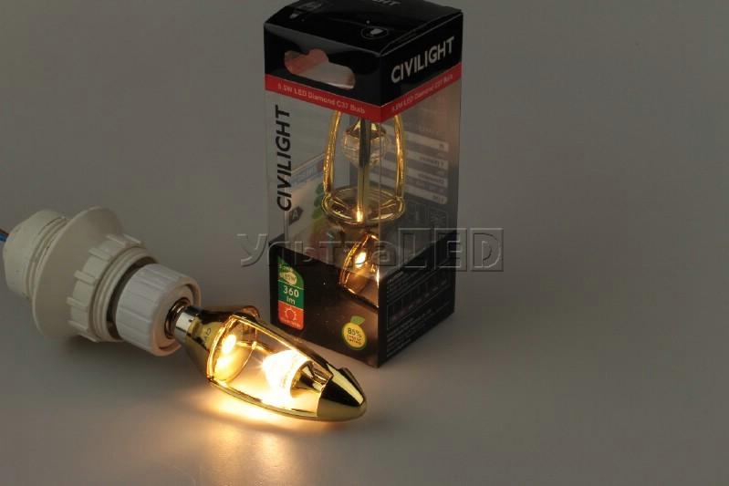 Лампа светодиодная CIVILIGHT E14-CV-5.5W Diamond Gold candle (warm white)