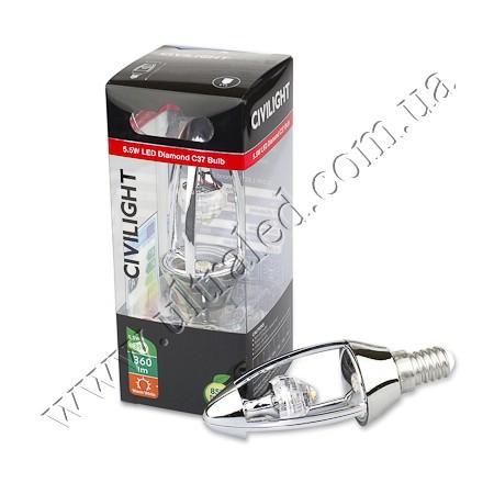 Лампа светодиодная CIVILIGHT E14-CV-5.5W Diamond candle (warm white)