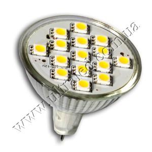 Лампа светодиодная MR16-15SMD 5050-220V (warm white)